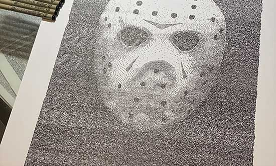 Artist creates Friday the 13th 40 year Anniversary art piece using Movie Script