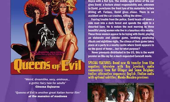 CAV and Mondo Macabro's February 2021 Release QUEENS OF EVIL – First ever U.S. release for this much sought after Euro horror film.