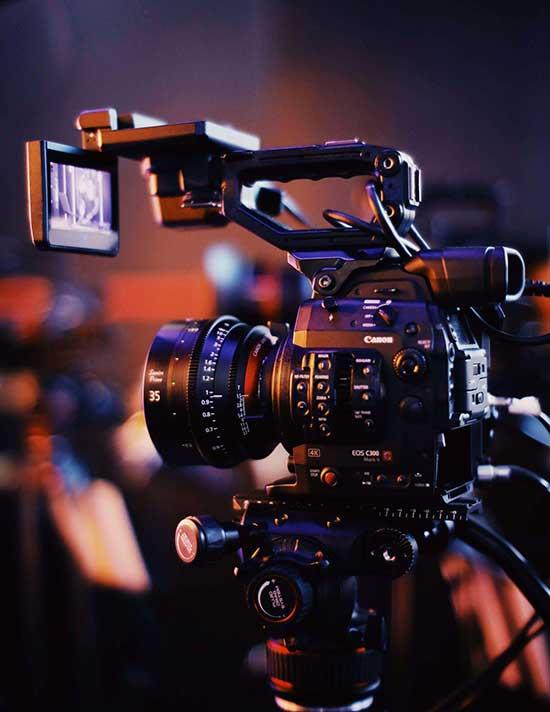 Closeup of a film camera
